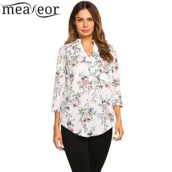 Camiseta de mujer con estampado de Meaneor con cuello en V curvado-dobladillo suelta camisa de otoño botón casual camisetas de mujer con puntos florales