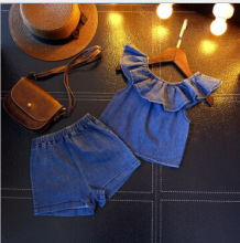 2018 Summer New Girls Set Cute Sweet Ruffle Trim Denim Top + Denim Shorts Two-Piece Set bleach wash ruffle denim shorts