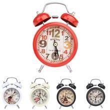 Mini reloj despertador Retro Vintage de hogar con número redondo y doble timbre fuerte para escritorio despertador de mesa para Oficina Luz Nocturna decoración del hogar