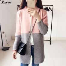 Woman long jaket coat sweater Knitted slim suit cardigans plus size elegant noble winter fall full sleeve large clothing Xnxee