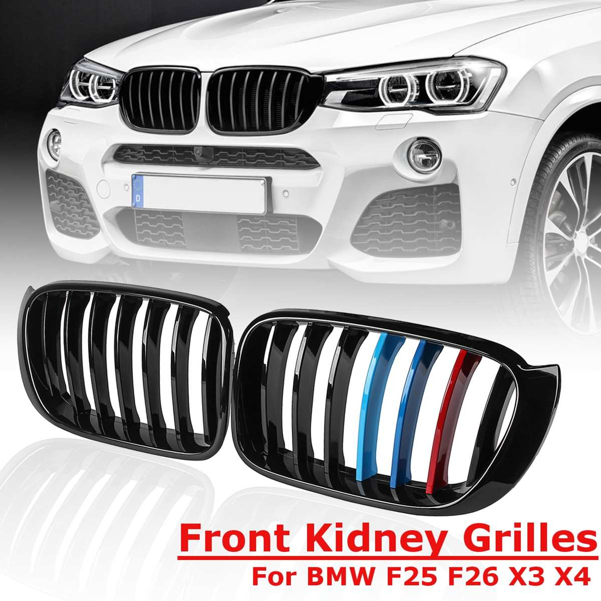 New Pair Front Kidney Grill Grille For BMW X3 F25 X4 F26 2014 2015 2016 2017 Gloss Matt Black M color 1 slat line Car Styling