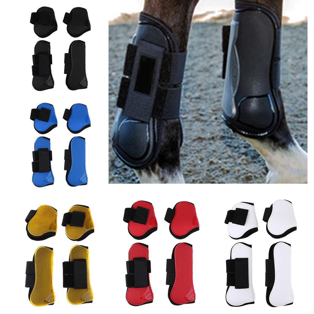 2 Đôi Ngựa Chân Giày Trước Chân Sau Gân Bảo Vệ Cưỡi Ngựa, PU Vỏ Và Cao Cấp Neoprene