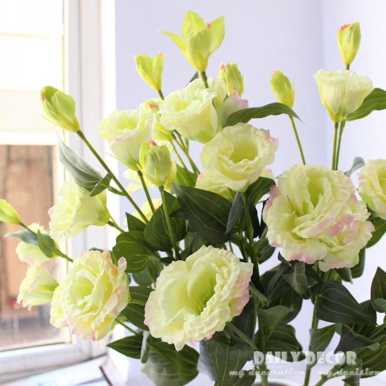 Оптовая продажа 6 головок 78 см длинные искусственные Eustoma цветы свадебные декоративные лисиа Цветы Свадебные шелковые горечавки цветок 10 шт...