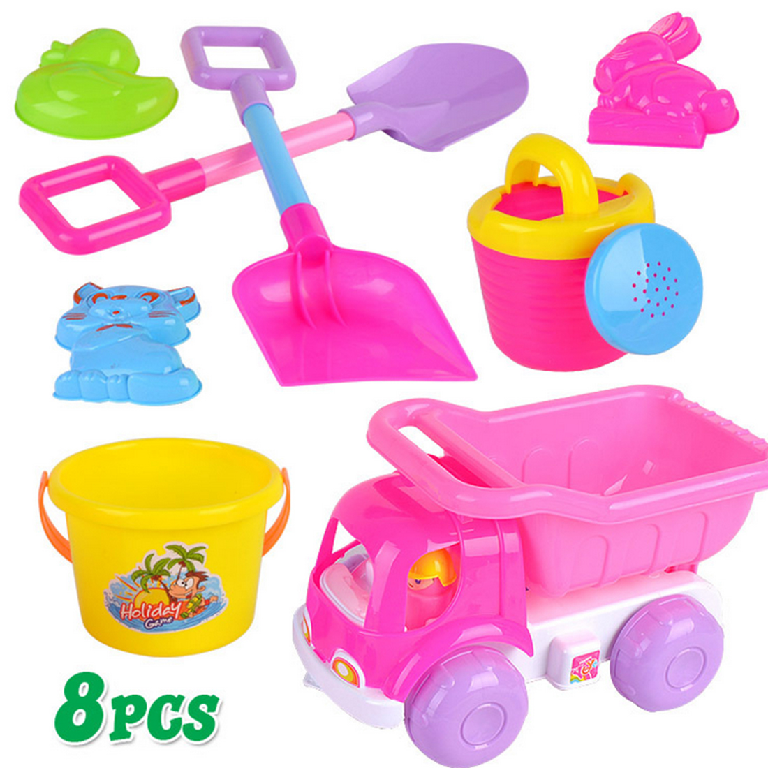 8Pcs Beach Sand Toy Set Beach Buggy Shovels Watering Can Kids Safety Plastic Toys Outdoor Toys For Children - Color Random