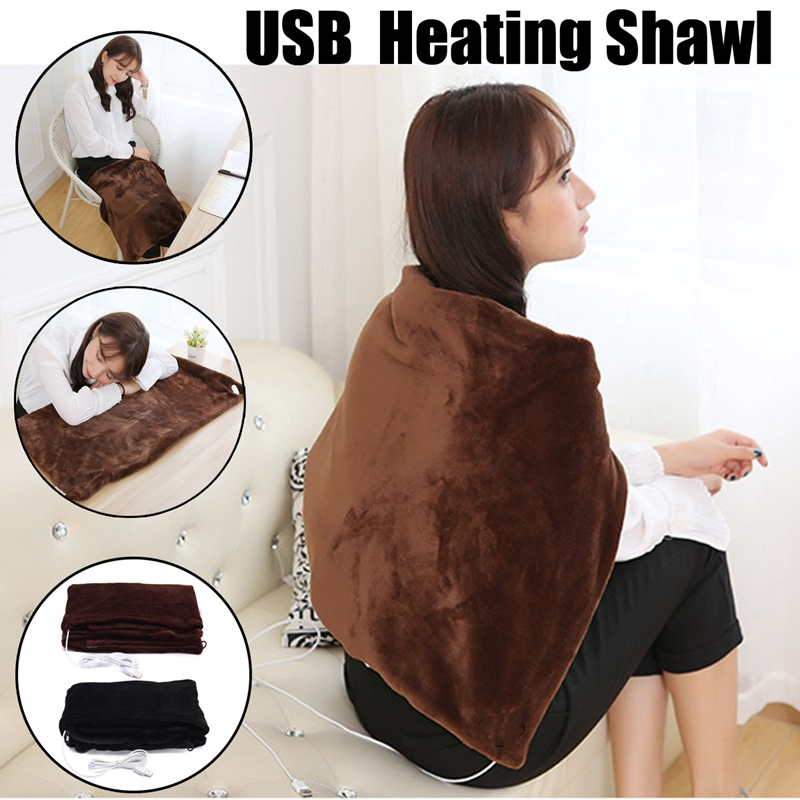 45x80cm Car Home Electric Warming Heating Blanket Pad Shoulder Neck Mobile Heating Shawl USB Soft 5V 4W Winter Warm Health Care