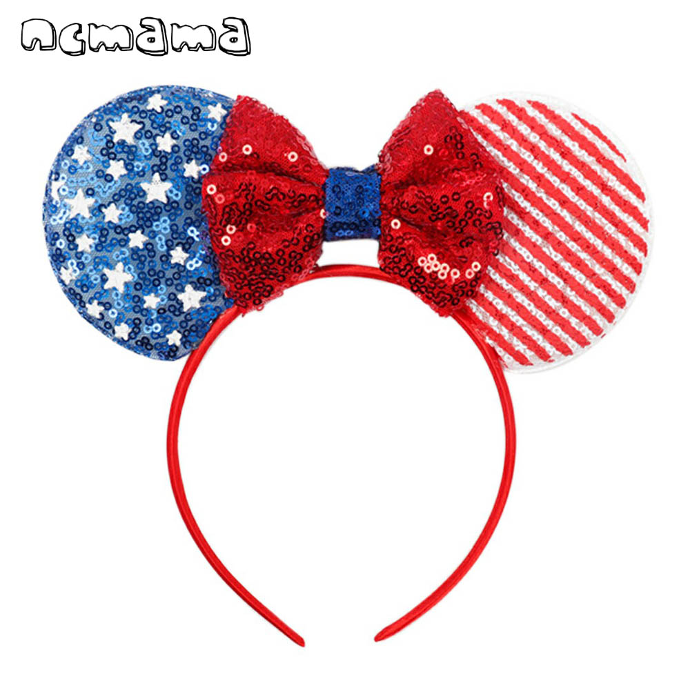 ncmama Hair Accessories 4th of July Girls Hairband with Sequin Mouse Ears Hair Bows Blue/white/red Party Headband Kids   Headwear