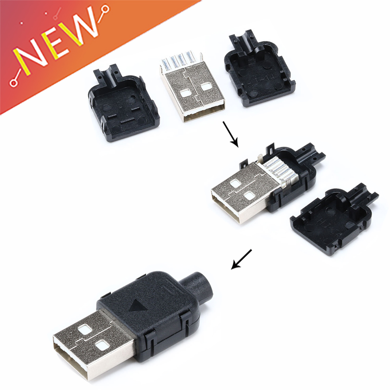 10Sets DIY USB 2.0 Connector Plug Type A Male USB 4 Pin Plug Socket Connector With Black Plastic Cover For Data Connection10Sets DIY USB 2.0 Connector Plug Type A Male USB 4 Pin Plug Socket Connector With Black Plastic Cover For Data Connection