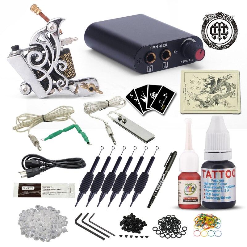 Kit de tatouage complet pour débutant tatouage Machine à tatouer encres noires ensemble Mini aiguilles d'alimentation fournitures de tatouage