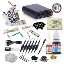 Complete Beginner Tattoo Kit Tattoo Machine Gun Black Inks Set Mini Power Needles Tattoo Supplies professional tattoo kit rotary machine guns needles beginner kit inks set tattoo power supply