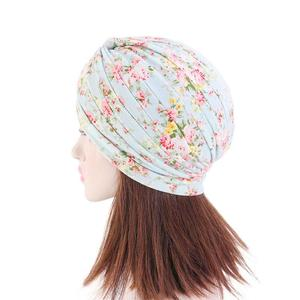 Image 4 - インドターバンイスラム教徒女性の花プリント帽子がん化学及血キャップイスラム脱毛カバービーニーボンネットのヘッドスカーフプリーツキャップ帽子
