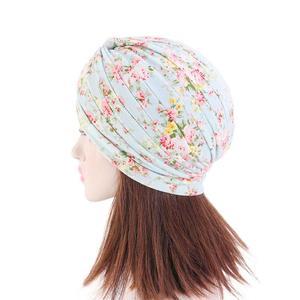 Image 4 - Indian Turban Muslim Women Floral Printed Hat Cancer Chemo Cap Islamic Hair Loss Cover Beanie Bonnet Head Scarf Pleated Caps Hat