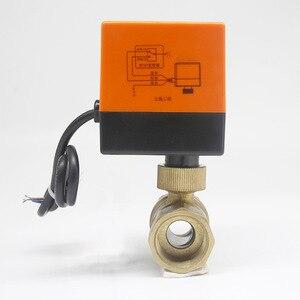 Image 2 - שני 3 דרך ממונע כדור 1/4 שסתום 220v חשמלי טמפרטורת מים פליז חימום מערכת שלושה קו בקרת מנוע מונע dn25