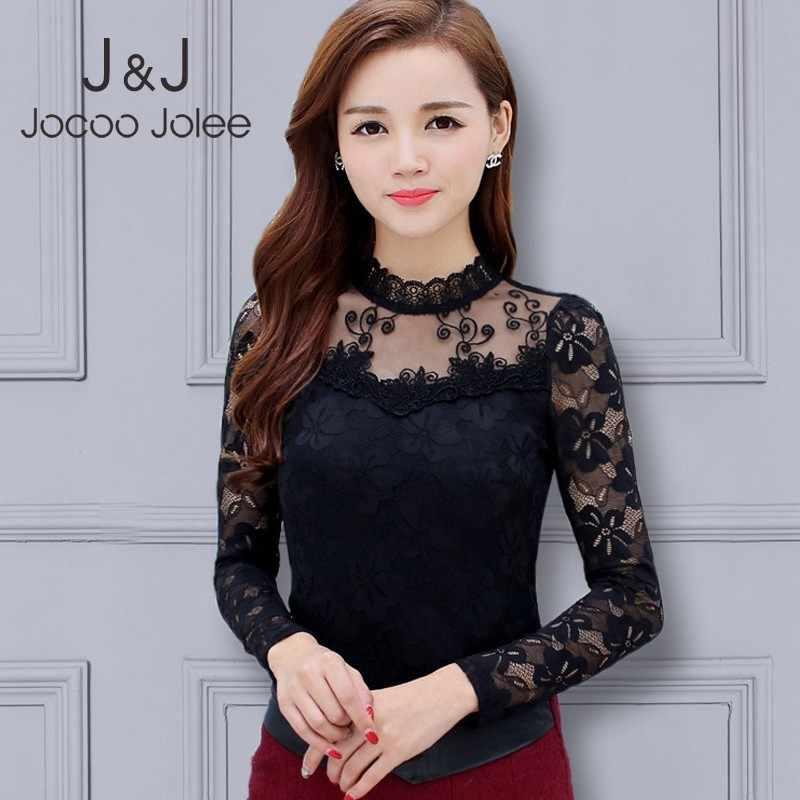 Jocoo Jolee נשים סקסי תחרה חולצה גבירותיי Slim חולצות נקבה מקרית Stand צוואר ארוך שרוול פנאי חולצות Femininas Blusas