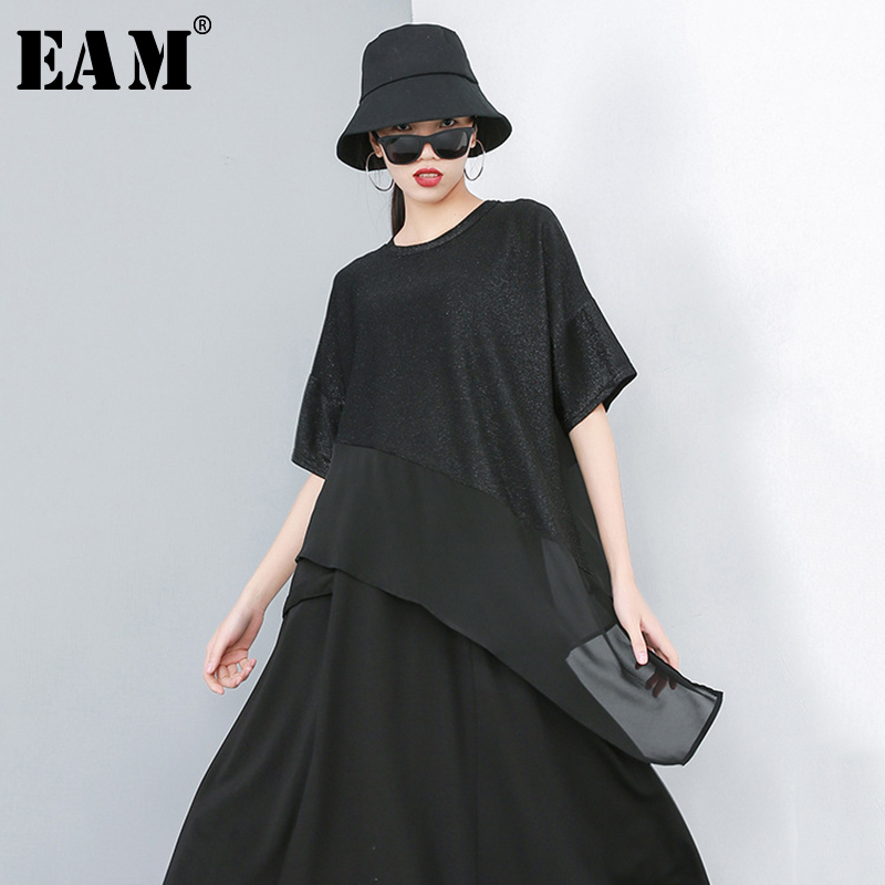 [EAM] 2020 New Spring Summer Round Neck Short Sleeve Black Hem Irregular Mesh Loose Big Size T-shirt Women Fashion Tide JR866