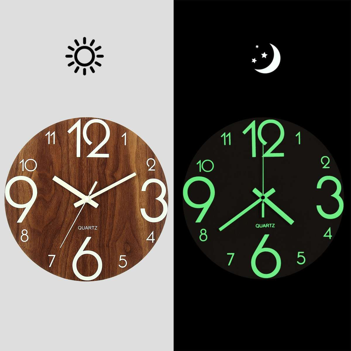 Us 11 63 34 Off 12 Inch Luminous Wall Clock Silent Glow In Dark For Home Living Room Hanging Antique Quartz Office Decoration Wooden