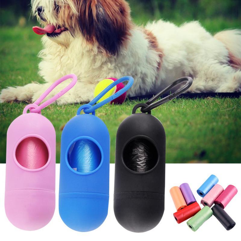 Carrier-Holder Dispenser Poop-Bag Waste-Garbage-Bags Pet-Dog 15pcs/Set
