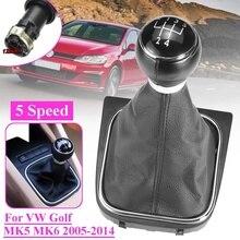 5 / 6 Speed Leather Car Gear Shift Knob Stick Pens Dust Cover For VW Golf MK5 MK6 Golf 5 6 Rabbit Jetta MK6 2010-2014 Styling