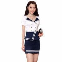 2019 Top Fashion Promotion Polyester Short Zipper O neck Summer Air Hostess Dress Foot Sauna Spa Work Uniform Suit Skirt