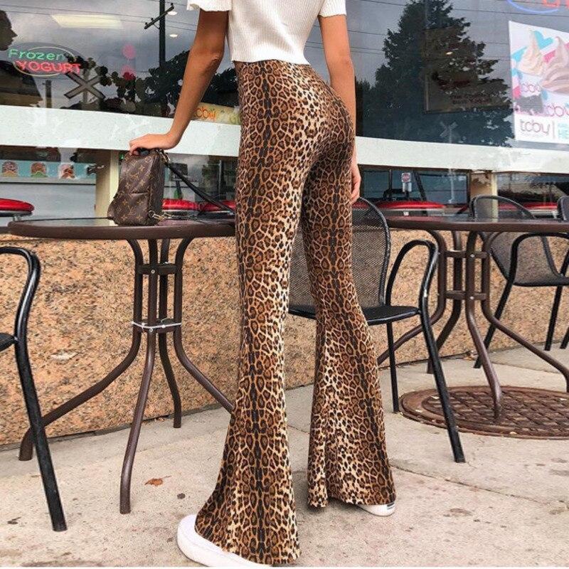 Women Flare Pants High Waist Snake Printed Loose Trousers Fashion 2018 Female Elastic Waist Leopard Printed Long Pants Plus Size