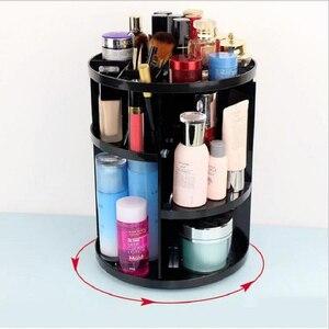 Image 2 - Caja organizadora de maquillaje giratoria de 360 grados, organizador de brochas, caja organizadora de joyería, caja de almacenamiento de cosméticos de maquillaje