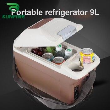 KUNFINE 12V DC Car Refrigerator 9L Multi-Function Fridge Vehicel Protable Refrigerator Freezer Cooler Brown low energy 28W