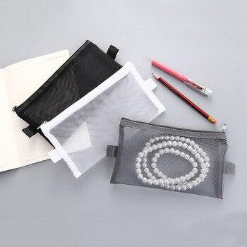 1 PC transparent mesh school pencil cases canvas pen box bag pouch office school stationary supplies Cute pencilcase 05093