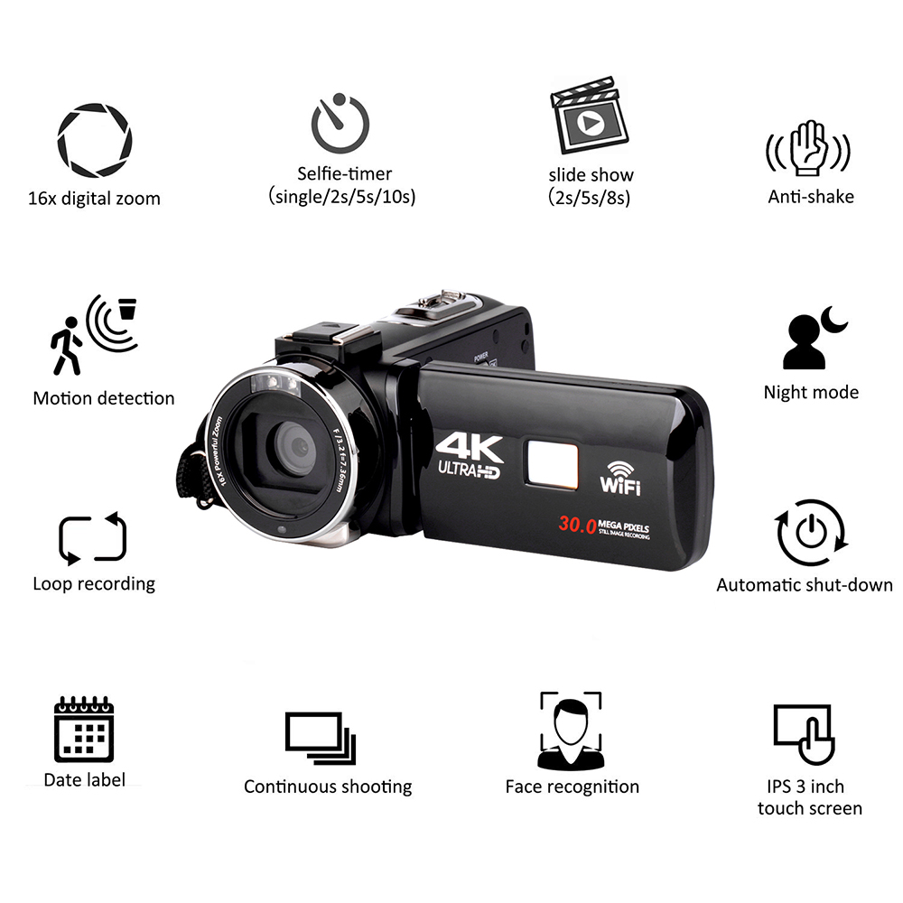4K Digital Handheld DV Cameras Video Camcorder for Tourism Adventure Household Professional with Wide-angle Len Night Photo
