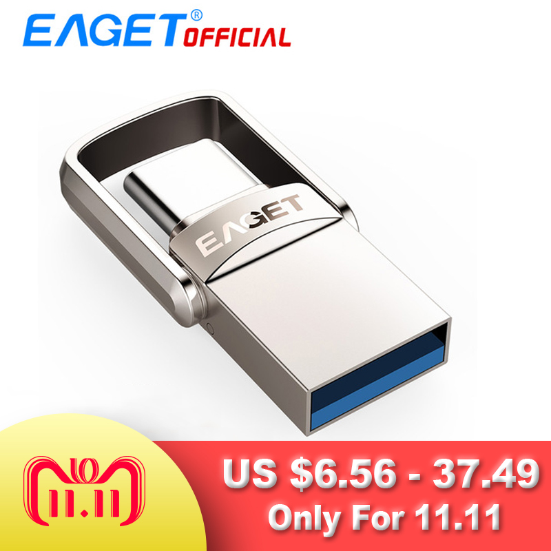 EAGET Type C USB Flash Drive 16GB USB 3.0 Pen Drive 32GB 64GB 128GB Pendrive USB Stick Disk for Huawei for Xiaomi Phone Laptops eaget otg usb flash drive 8gb 16gb 32gb 64gb pen drive 32gb usb 3 0 high speed flash disk pendrive usb stick for xiaomi phone pc