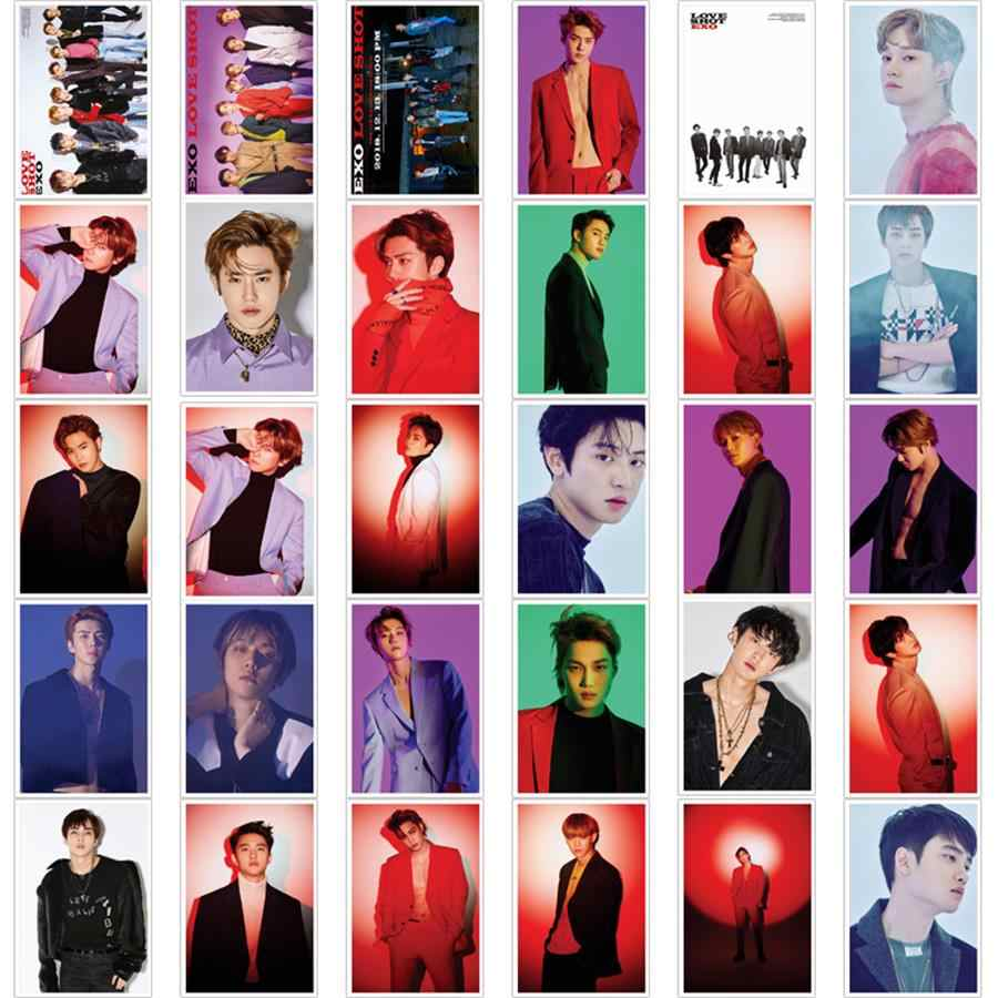Kpop EXO Love Shot Polaroid Lomo Photo Card New Album Chanyeol Baekhyun Photocard Cards 30pc set.jpg q50