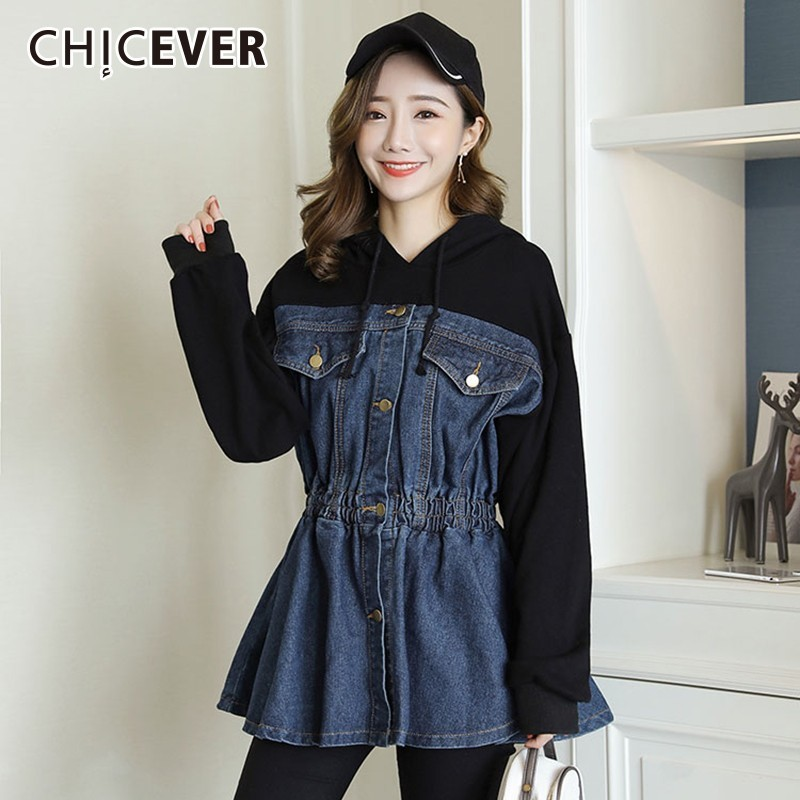 CHICEVER Spring Patchwork Denim Jacket For Women Hooded Long Sleeve High Waist Slim Women s Jackets