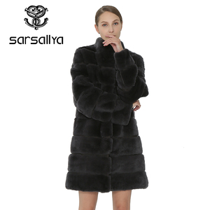 Image 3 - SARSALLYA Rex Rabbit Fur Women Coat  Detachable Overcoat Jacket Warm Winter Women Clothing Natural Fur Female Coat Jacket