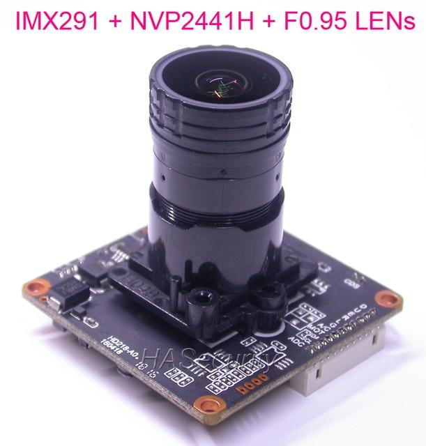 "F0.95 LENs AHD-H 1080P / CVBS 1/2.8"" Sony STARVIS IMX291 CMOS + NVP2441 CCTV camera module PCB board with OSD cable (UTC)"