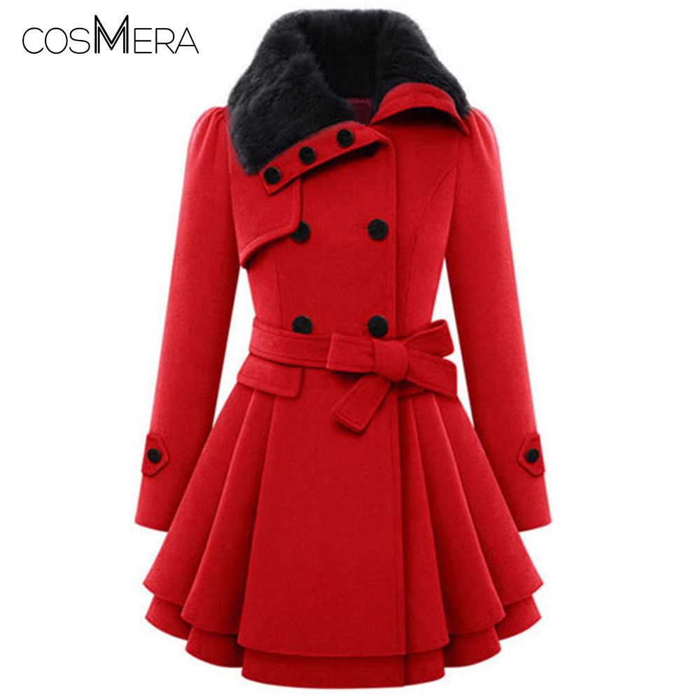 CosMera Turn Down Collar Double Breasted Longline Coat Women Clothes   Trench   Coat Winter Long Coat Female Warm Overcoat Outwear