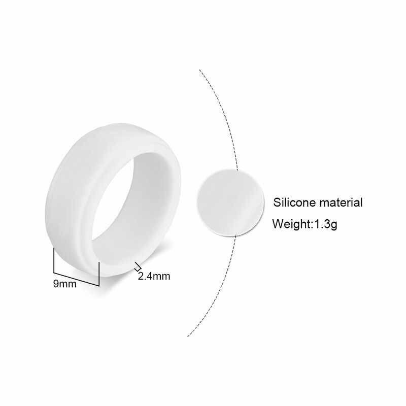 Vnox masculino anéis de silicone bandas de casamento para homem 9mm ampla cor preta e branca