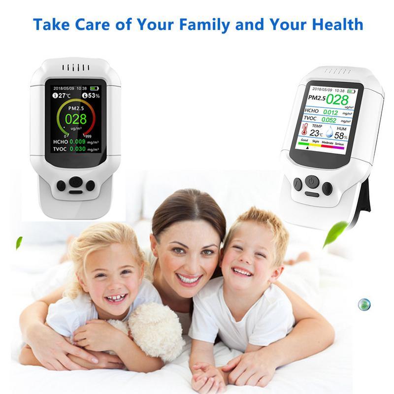 Air Qualité Détecteur Compteur Moniteur Avec Couleur LCD Multifonction système opérateur Pour Intérieur Formaldéhyde HCHO PM1.0 PM2.5 PM10