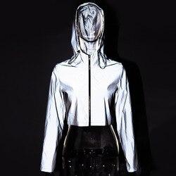 Ins noc odblaskowe kurtki damskie bawełniane z kapturem Streetwear kurtka kobiety z długim rękawem przycięte płaszcz Femme luźne Zipper znosić 4