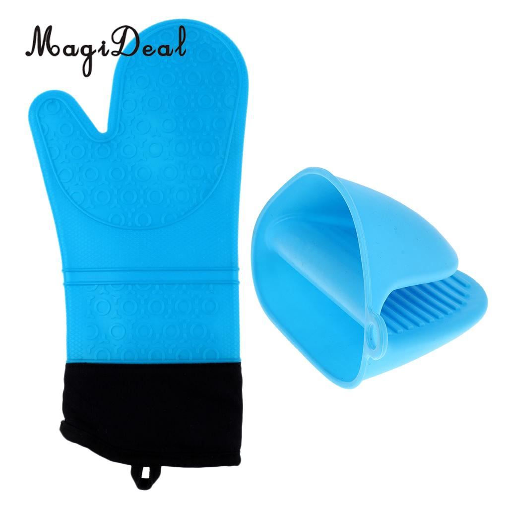 2pcs Oven Mitts Silicone Heat Resistant Mini Pot Holders Grips Hand Finger Protector Gloves For Baking And Grilling Pottery & Glass