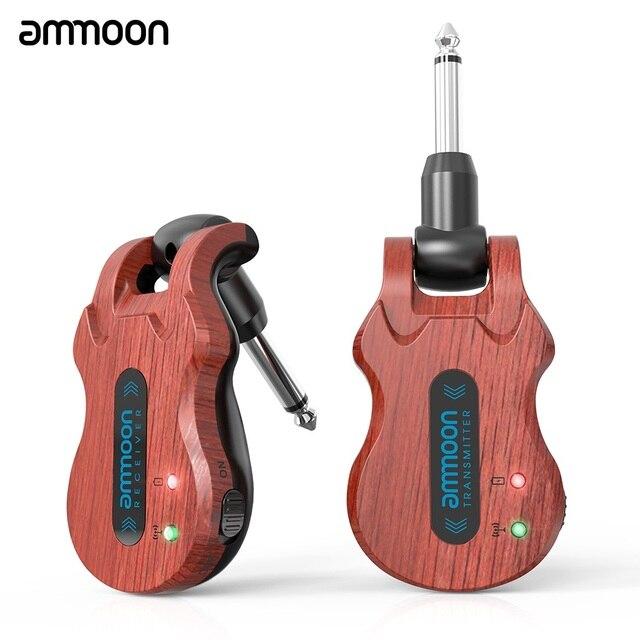Ammoon Kablosuz Gitar Sistemi dijital gitar verici alıcı Dahili şarj edilebilir pil 300 Feet İletim Aralığı