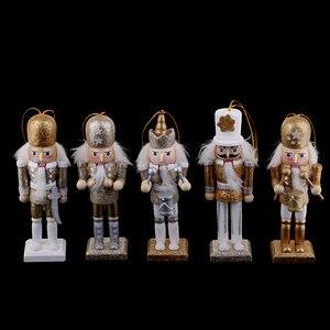 Image 3 - 15 sztuk 12cm drewniany dziadek do orzechów żołnierz Model figurki lalek lalki rzemieślnicze dla dzieci prezenty boże narodzenie dekoracje do domowego biura wyświetlacz
