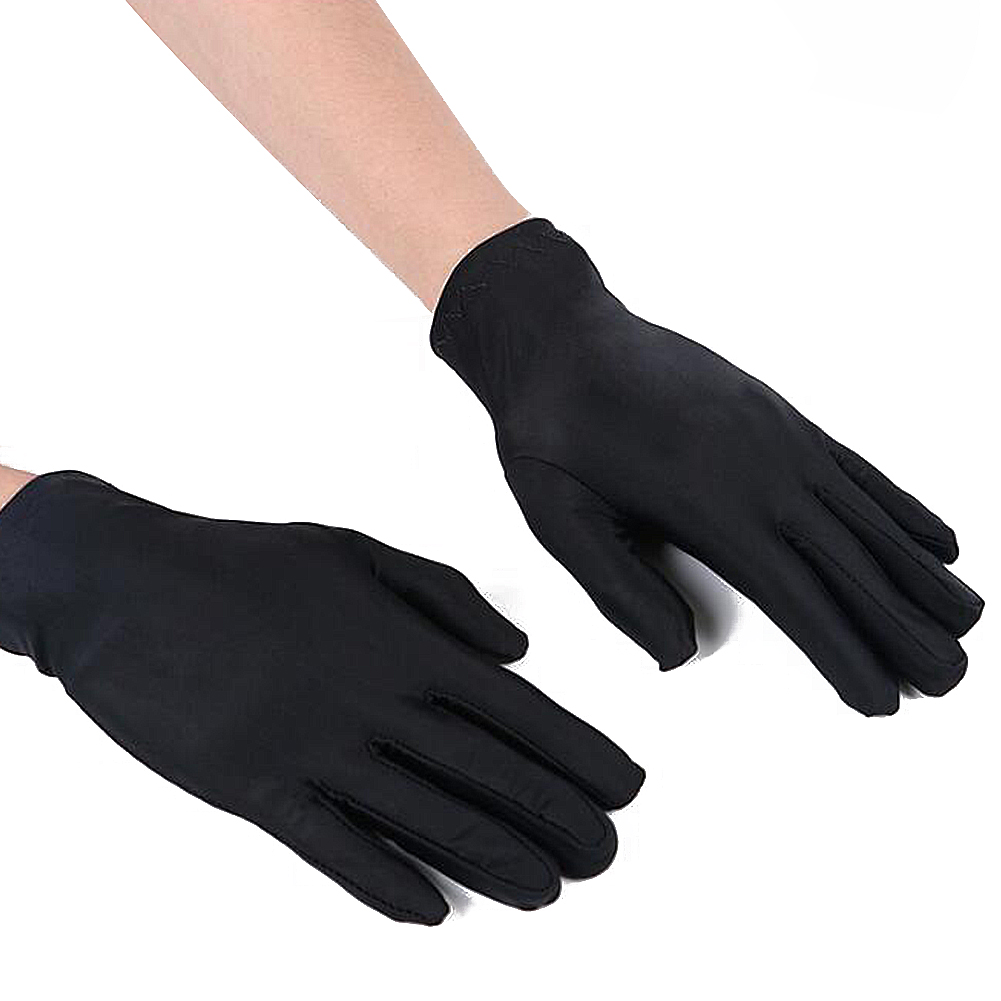1Pair Men Black White Etiquette Short Gloves Thin Stretch Spandex Sports Driving Sun Protection Five Fingers Gloves Handschoenen 2