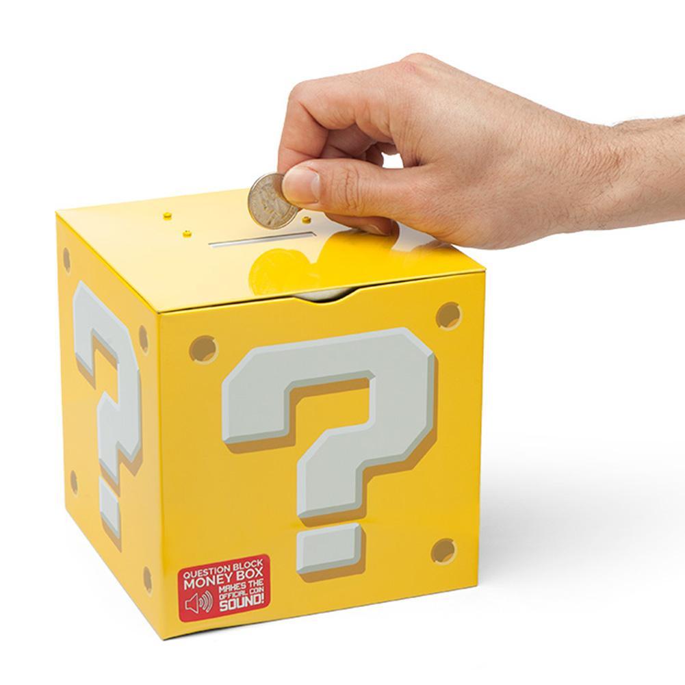Money Box Toys Super Mario Bros Question Pattern Block Money Box Piggy Bank Saver Tin Children Pretend Play Toy