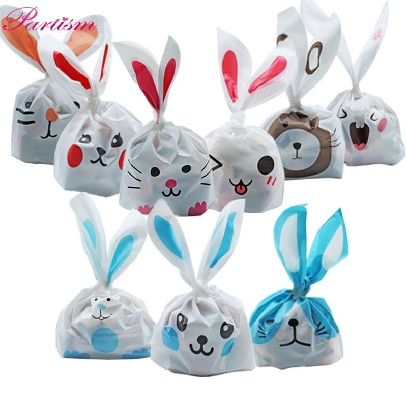 10PCS/Lot Cute Rabbit Ear Cookie & Candy Bags Animals Self-Adhesive Plastic Bag For Biscuits Snack Wedding Favors Gifts Supplies