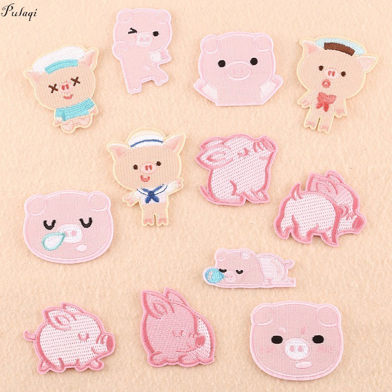 Pulaqi Piggy Bank Pig Patches Cute Pig Embroidered Stickers Pink Animal Cartoon Kids Women Iron On For Clothes Decoration F