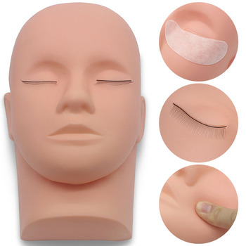 Kimcci 1pc Eyelashes Extension Training Mannequin Head Makeup Practice Model Fake Mannequin Head Model Massage Lashes Grafted