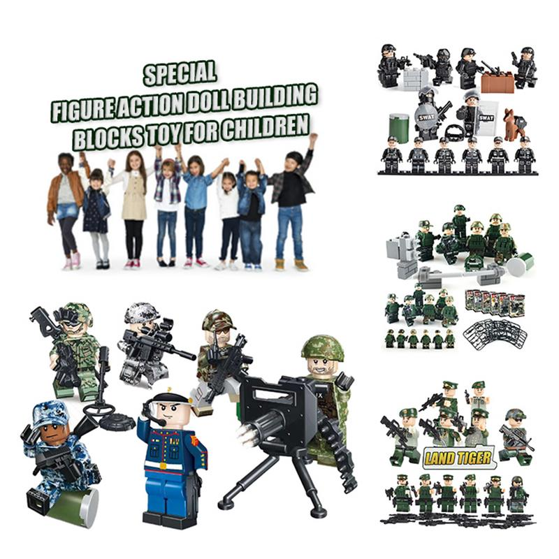 6pcs 12pcs /lot Special Force Soldier Action Figure Dolls Building Blocks Bricks Toys Compatible Personnel Special Police Doll Dolls Dolls & Stuffed Toys