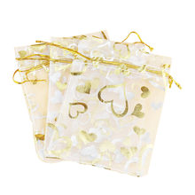 100pcs 4.3 x 6.3 Inch Gold Organza Bags Jewelry Pouch Bags Organza Velvet Drawstring Pouches Wedding Favors Candy Gift Bags(China)