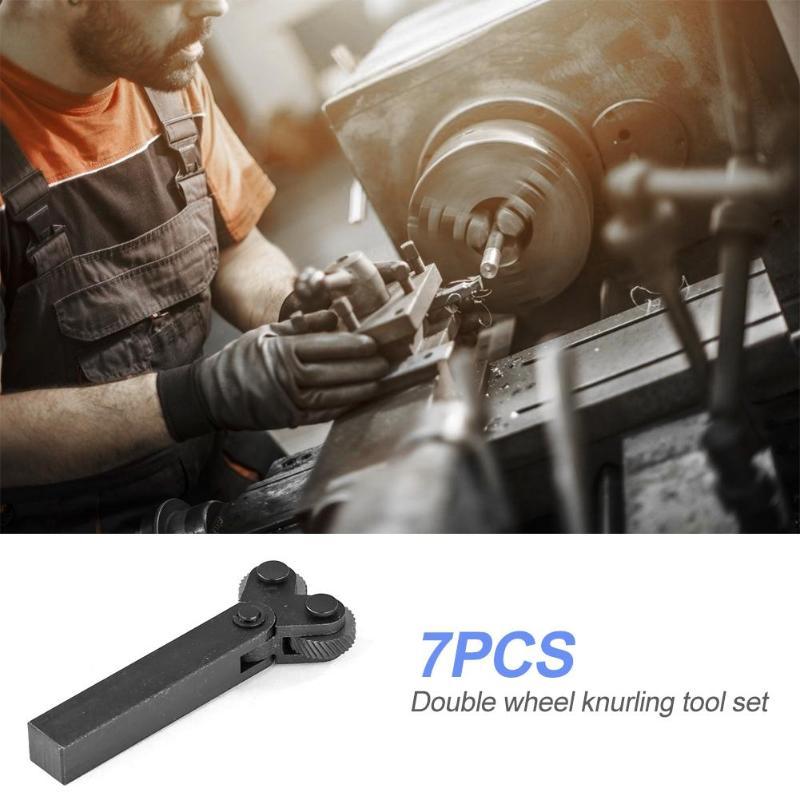7pcs Knurling Knurler Tool Diagonal Wheel LATHE Linear Knurl Set 0.5mm 1mm 2mm