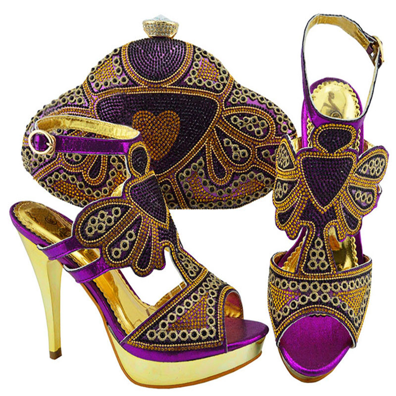 jzc004 purple Shining Crystal Nigeria Shoes And Bag To Match African Summer PU With Stone Pumps Shoes And Purse Set For Womanjzc004 purple Shining Crystal Nigeria Shoes And Bag To Match African Summer PU With Stone Pumps Shoes And Purse Set For Woman