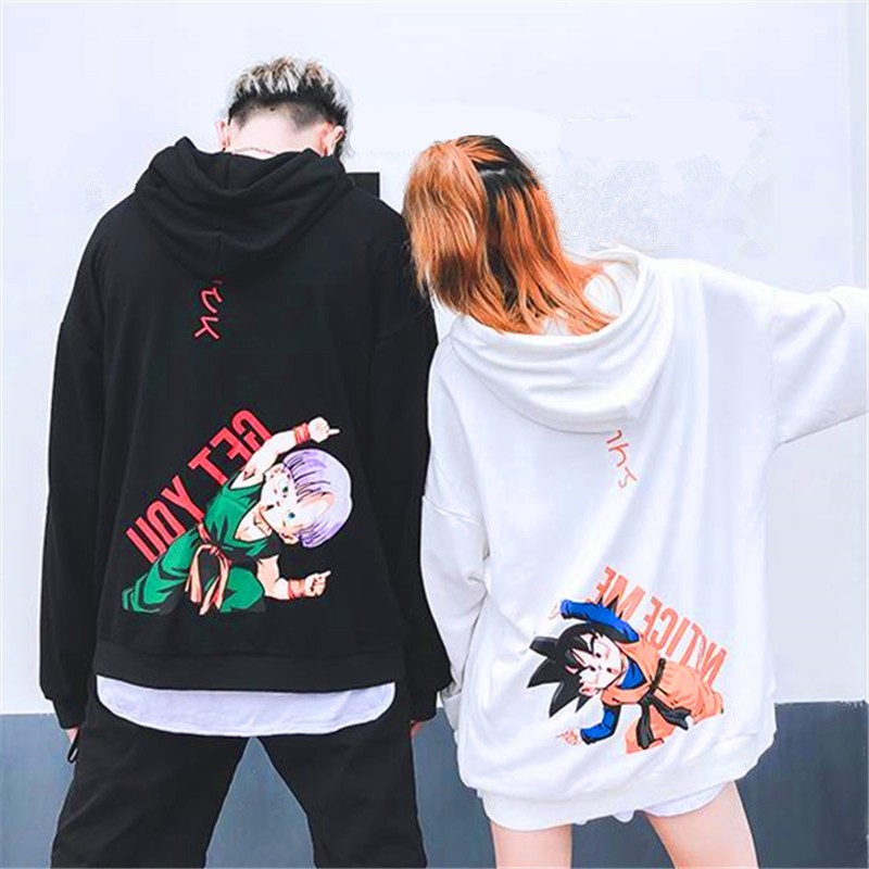 Harajuku Japanese Manga Sudadera Dragon Ball Sweatshirts Men Women Lovers Hip Hop Goten Trunks Plus Velvet Loose Couple Hoodies
