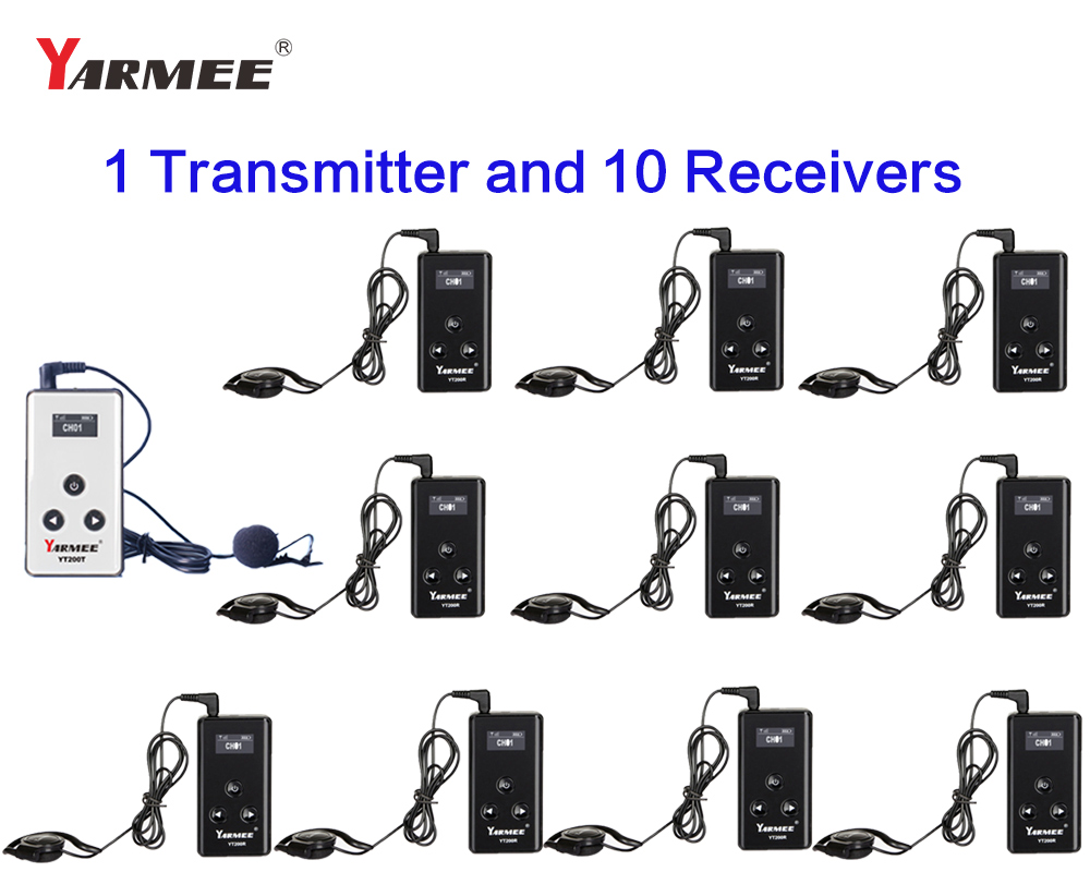 YARMEE YT200 Wireless Tour Guide System Radio Guide 1 Transmitter 10 Receivers for Simultaneous Interpretation